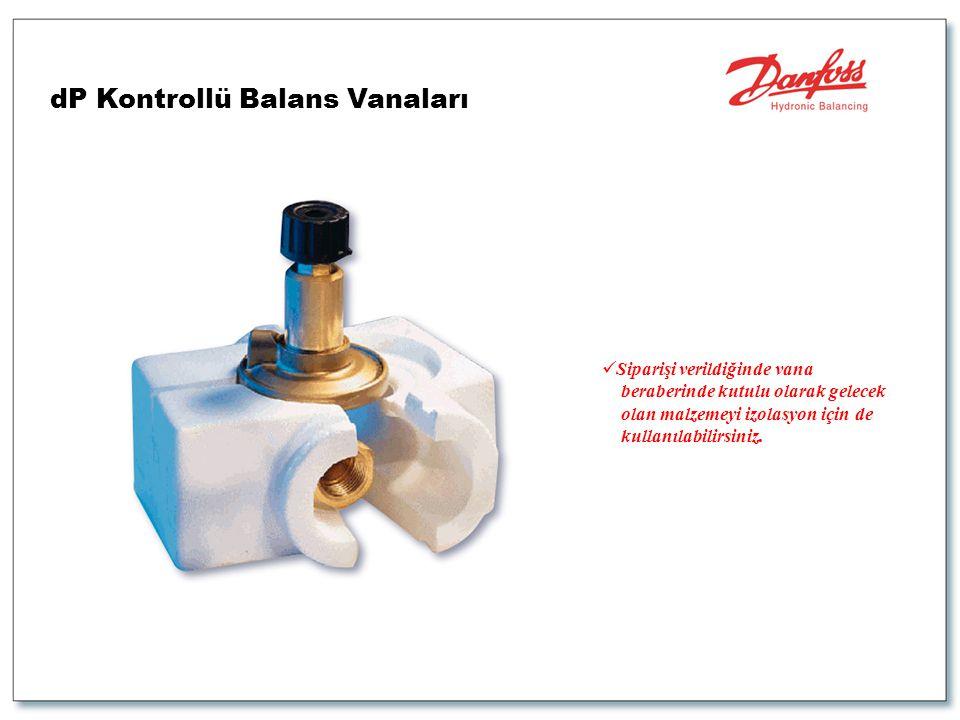  Siparişi verildiğinde vana beraberinde kutulu olarak gelecek olan malzemeyi izolasyon için de kullanılabilirsiniz. dP Kontrollü Balans Vanaları