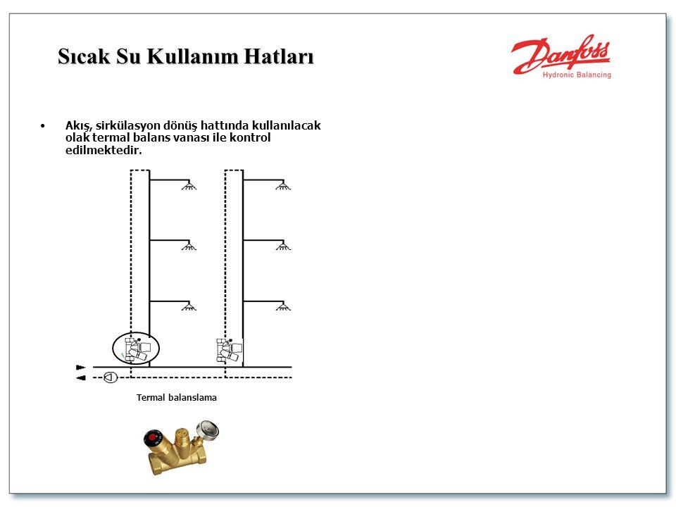 •Akış, sirkülasyon dönüş hattında kullanılacak olak termal balans vanası ile kontrol edilmektedir. Termal balanslama Sıcak Su Kullanım Hatları