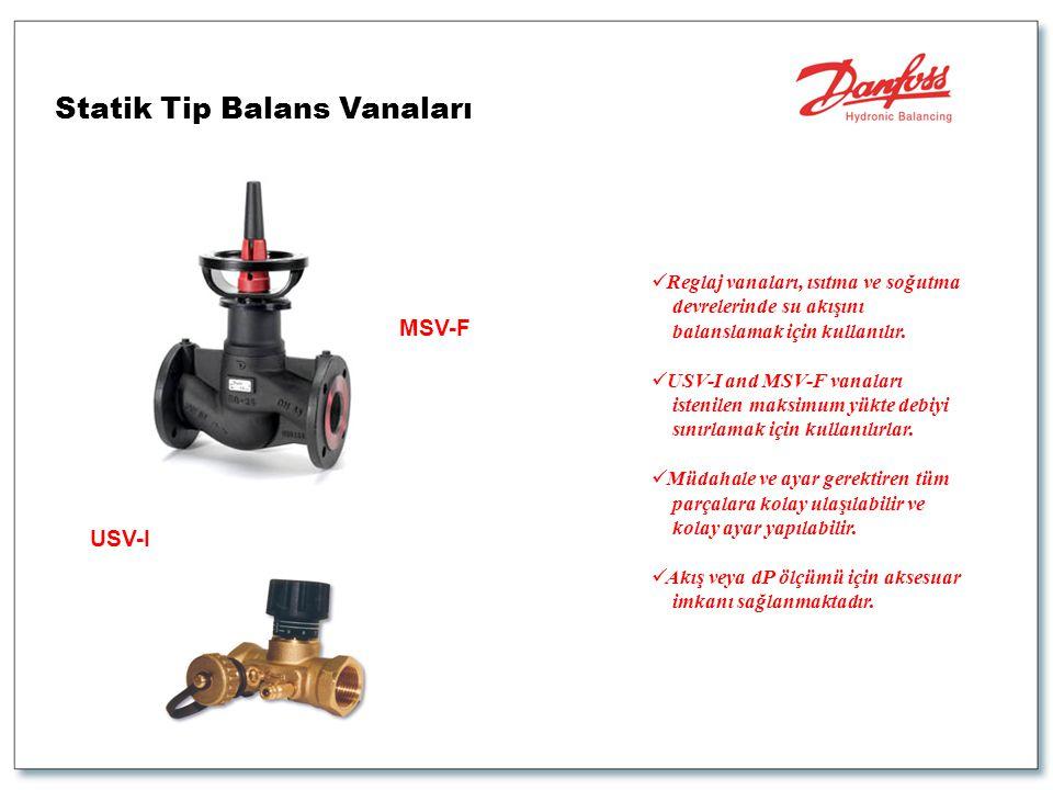 Statik Tip Balans Vanaları  Reglaj vanaları, ısıtma ve soğutma devrelerinde su akışını balanslamak için kullanılır.  USV-I and MSV-F vanaları isteni