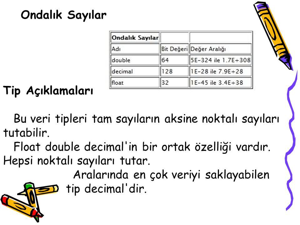 Ondalık Sayılar Tip Açıklamaları Bu veri tipleri tam sayıların aksine noktalı sayıları tutabilir. Float double decimal'in bir ortak özelliği vardır. H
