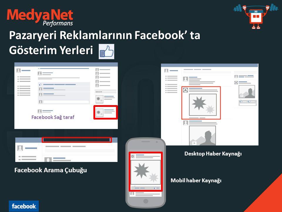 Facebook Sağ taraf Desktop Haber Kaynağı Mobil haber Kaynağı Facebook Arama Çubuğu Pazaryeri Reklamlarının Facebook' ta Gösterim Yerleri