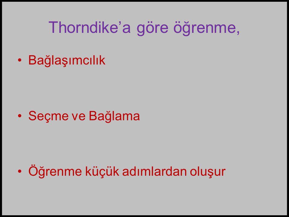Thorndike'a göre öğrenme, •Bağlaşımcılık •Seçme ve Bağlama •Öğrenme küçük adımlardan oluşur
