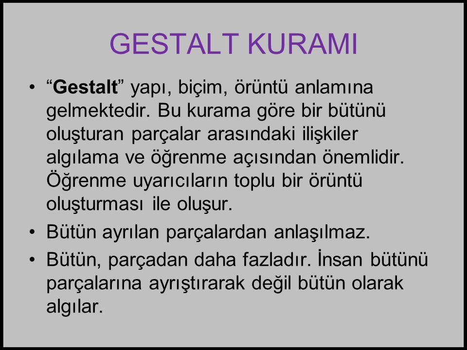GESTALT KURAMI • Gestalt yapı, biçim, örüntü anlamına gelmektedir.
