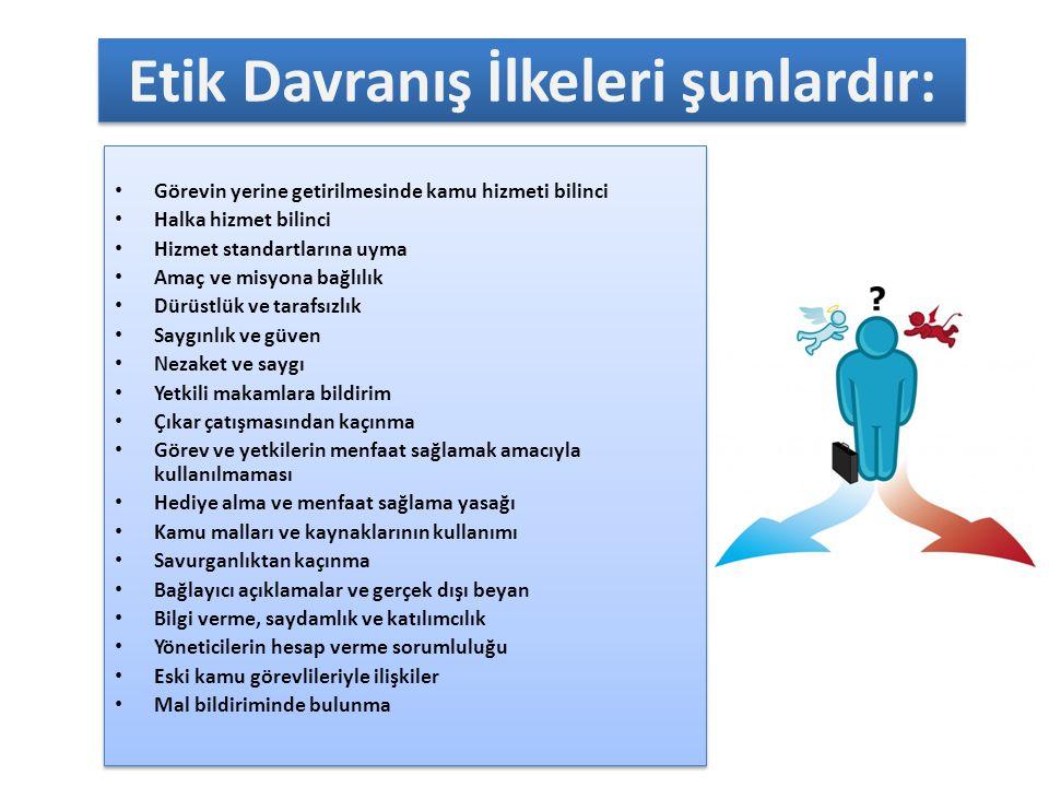 ETİK DAVRANIŞ İLKELERİNE UYULMASI Kurum içinde, temel değerler ve iş etiği prensiplerinin sahiplenilmesi ve yaşatılması zorunludur.