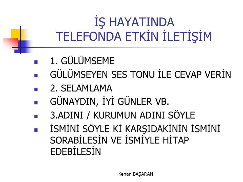 Kenan BAŞARAN İŞ HAYATINDA TELEFONDA ETKİN İLETİŞİM  1. GÜLÜMSEME  GÜLÜMSEYEN SES TONU İLE CEVAP VERİN  2. SELAMLAMA  GÜNAYDIN, İYİ GÜNLER VB.  3