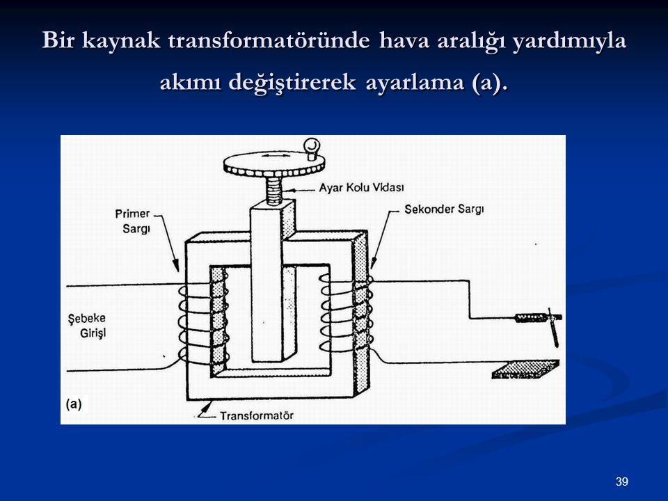 39 Bir kaynak transformatöründe hava aralığı yardımıyla akımı değiştirerek ayarlama (a).