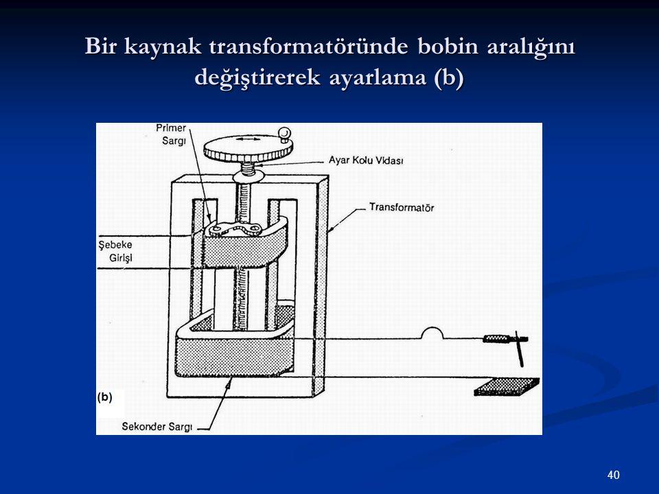 40 Bir kaynak transformatöründe bobin aralığını değiştirerek ayarlama (b)