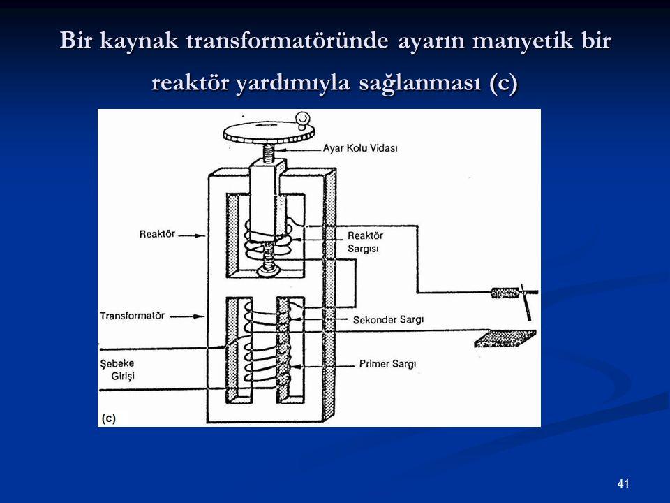 41 Bir kaynak transformatöründe ayarın manyetik bir reaktör yardımıyla sağlanması (c)