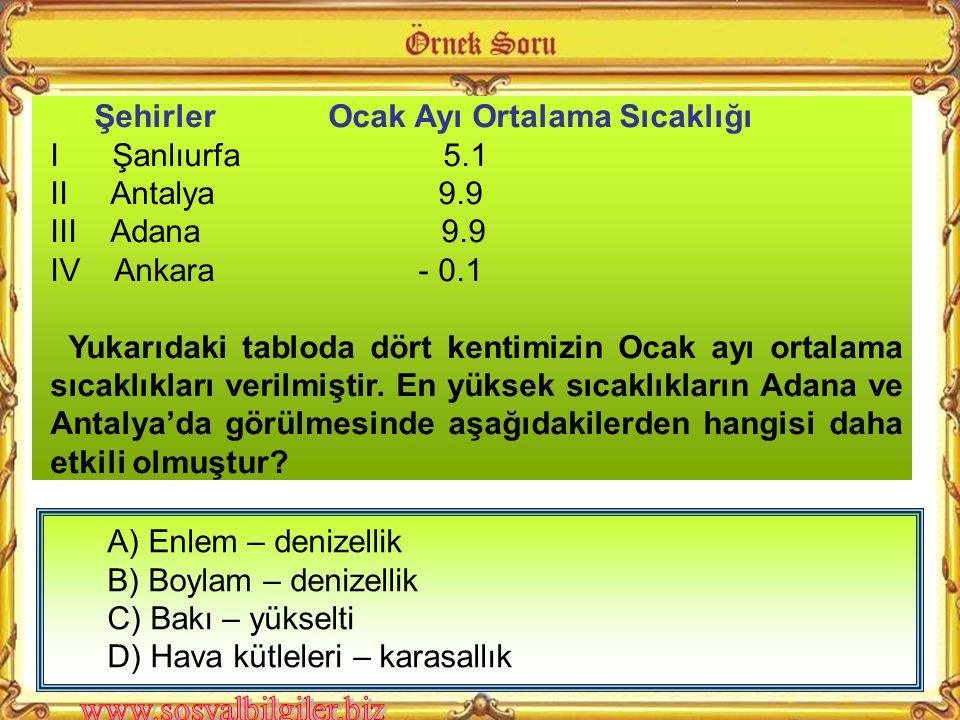 A ) Konya B ) Kocaeli C ) Erzurum D ) Antalya Deniz seviyesinden ne kadar yükseğe çıkılırsa sıcaklık o kadar azalır. Ortalama her 200 metre' de 1°C de