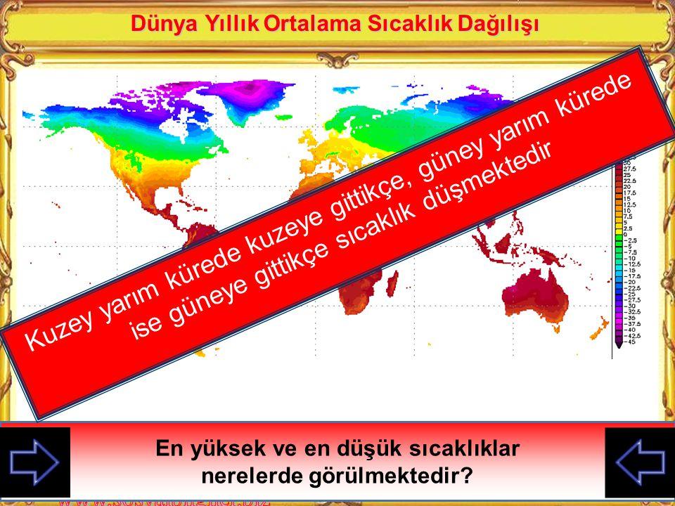 Dünya Yıllık Ortalama Sıcaklık Dağılışı En yüksek ve en düşük sıcaklıklar nerelerde görülmektedir.