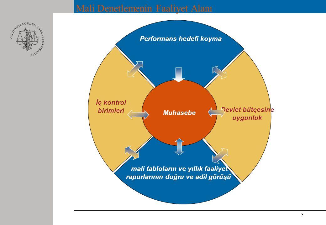 3 Mali Denetlemenin Faaliyet Alanı Performans hedefi koyma İç kontrol birimleri mali tabloların ve yıllık faaliyet raporlarının doğru ve adil görüşü Devlet bütçesine uygunluk Muhasebe