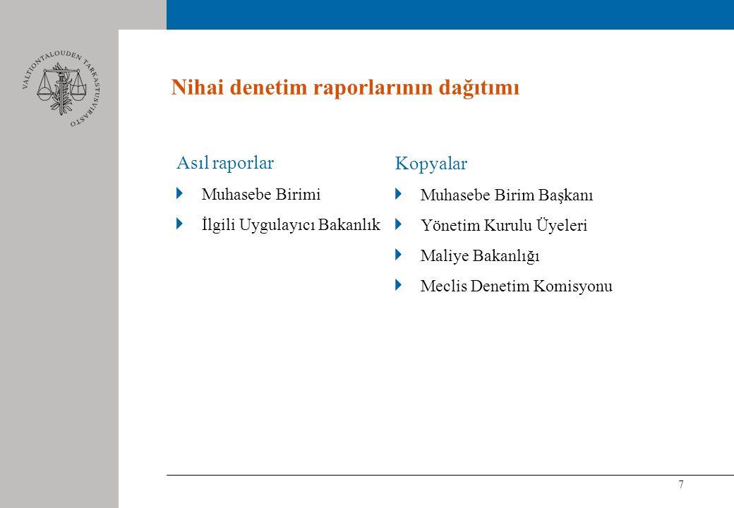 7 Nihai denetim raporlarının dağıtımı Asıl raporlar Muhasebe Birimi İlgili Uygulayıcı Bakanlık Kopyalar Muhasebe Birim Başkanı Yönetim Kurulu Üyeleri