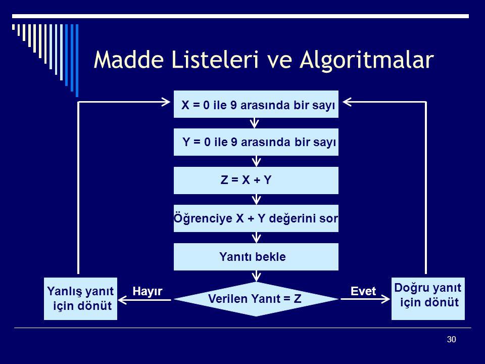 30 Madde Listeleri ve Algoritmalar X = 0 ile 9 arasında bir sayı Y = 0 ile 9 arasında bir sayı Z = X + Y Öğrenciye X + Y değerini sor Yanıtı bekle Verilen Yanıt = Z Doğru yanıt için dönüt Yanlış yanıt için dönüt EvetHayır