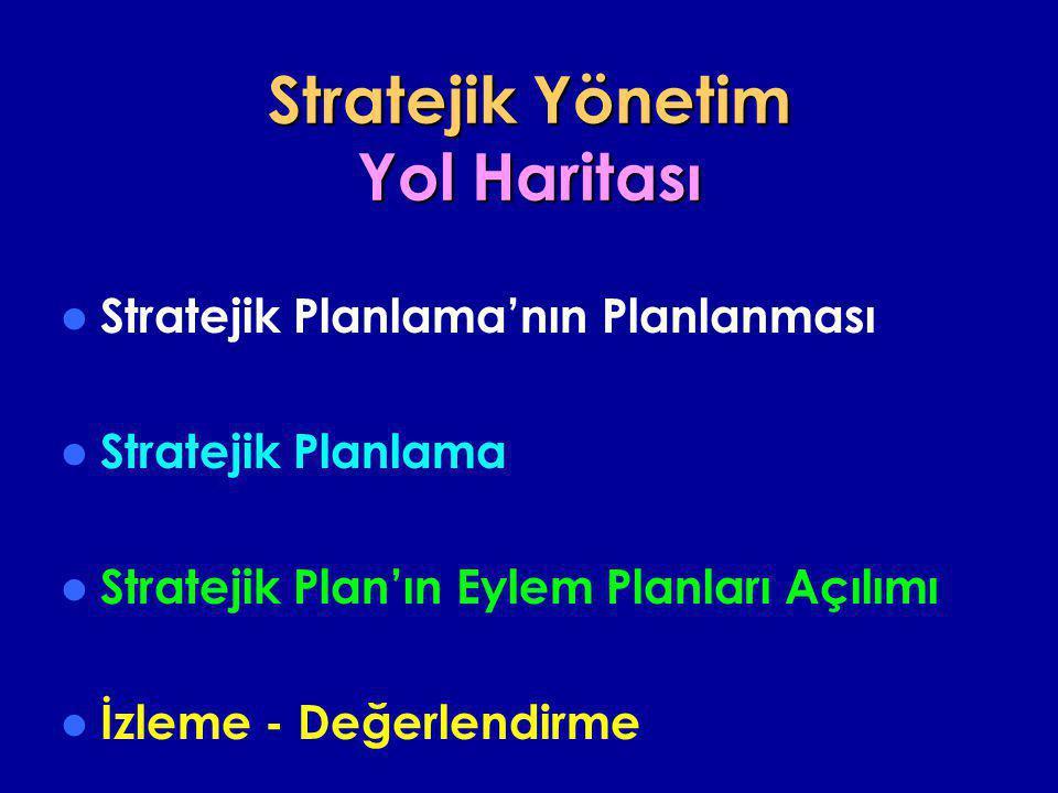 Stratejik Yönetim Yol Haritası  Stratejik Planlama'nın Planlanması  Stratejik Planlama  Stratejik Plan'ın Eylem Planları Açılımı  İzleme - Değerle