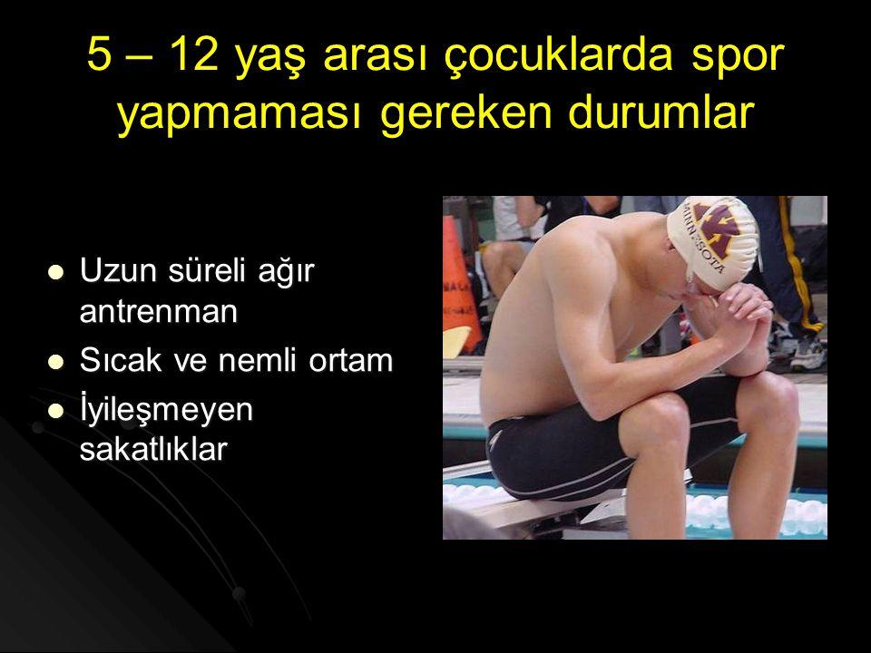 5 – 12 yaş arası çocuklarda spor yapmaması gereken durumlar  Uzun süreli ağır antrenman  Sıcak ve nemli ortam  İyileşmeyen sakatlıklar