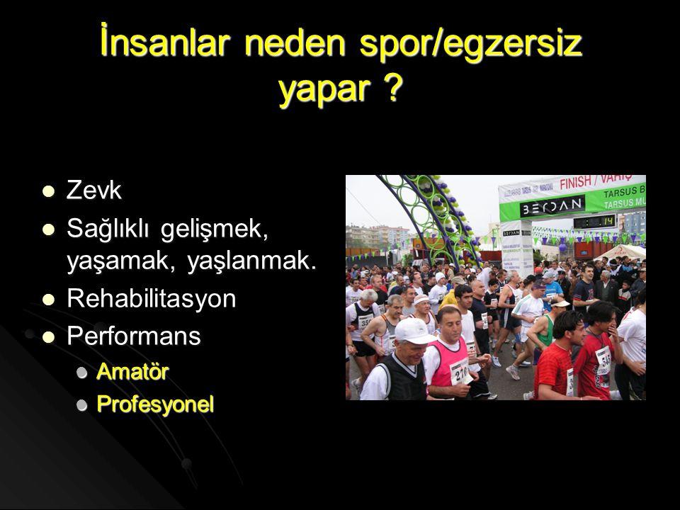 İnsanlar neden spor/egzersiz yapar ?  Zevk  Sağlıklı gelişmek, yaşamak, yaşlanmak.   Rehabilitasyon  Performans  Amatör  Profesyonel