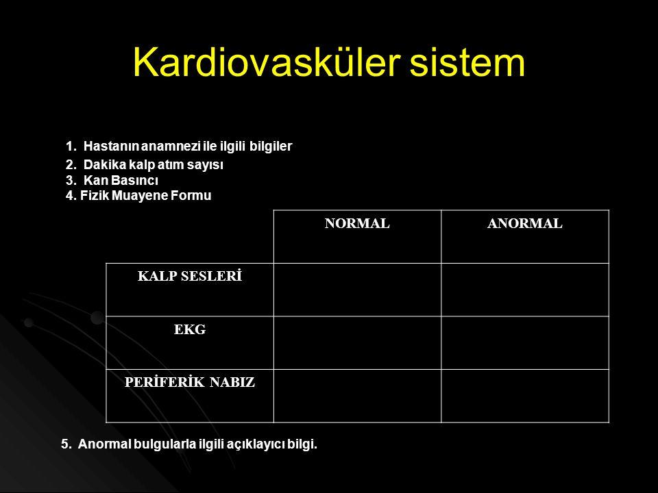 Kardiovasküler sistem 1. Hastanın anamnezi ile ilgili bilgiler 5. Anormal bulgularla ilgili açıklayıcı bilgi. 2. Dakika kalp atım sayısı 3. Kan Basınc