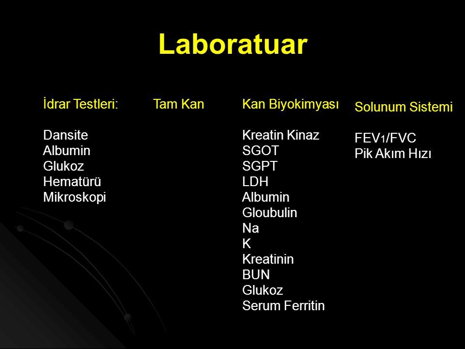 Laboratuar İdrar Testleri: Dansite Albumin Glukoz Hematürü Mikroskopi Tam KanKan Biyokimyası Kreatin Kinaz SGOT SGPT LDH Albumin Gloubulin Na K Kreati