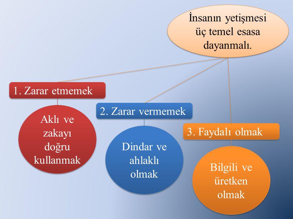 1. Zarar etmemek 2. Zarar vermemek 3. Faydalı olmak İnsanın yetişmesi üç temel esasa dayanmalı.