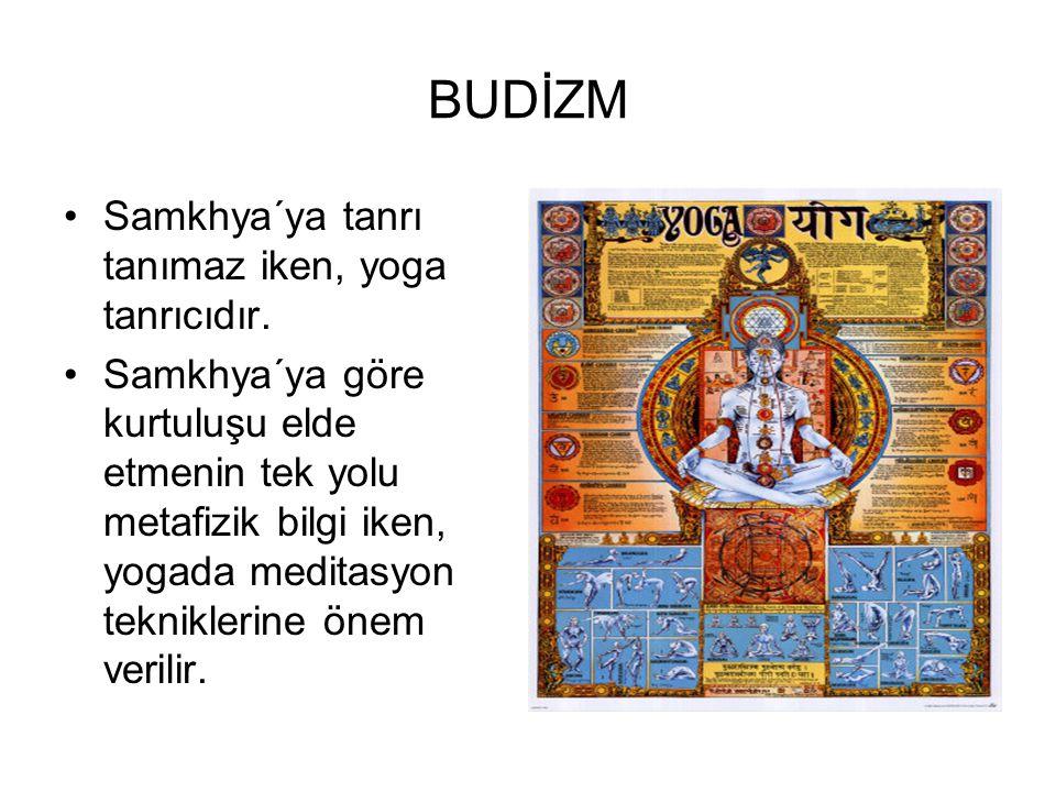 BUDİZM •Samkhya´ya tanrı tanımaz iken, yoga tanrıcıdır. •Samkhya´ya göre kurtuluşu elde etmenin tek yolu metafizik bilgi iken, yogada meditasyon tekni