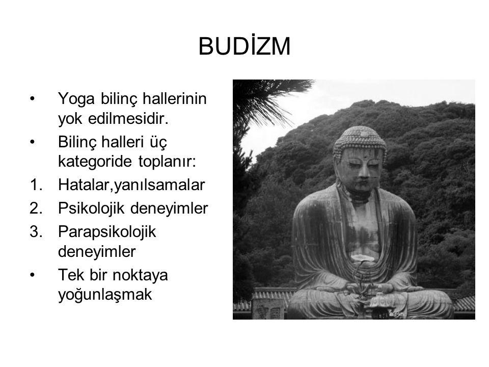 BUDİZM •Yoga bilinç hallerinin yok edilmesidir. •Bilinç halleri üç kategoride toplanır: 1.Hatalar,yanılsamalar 2.Psikolojik deneyimler 3.Parapsikoloji
