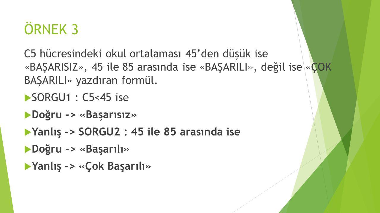 ÖRNEK 3 C5 hücresindeki okul ortalaması 45'den düşük ise «BAŞARISIZ», 45 ile 85 arasında ise «BAŞARILI», değil ise «ÇOK BAŞARILI» yazdıran formül.
