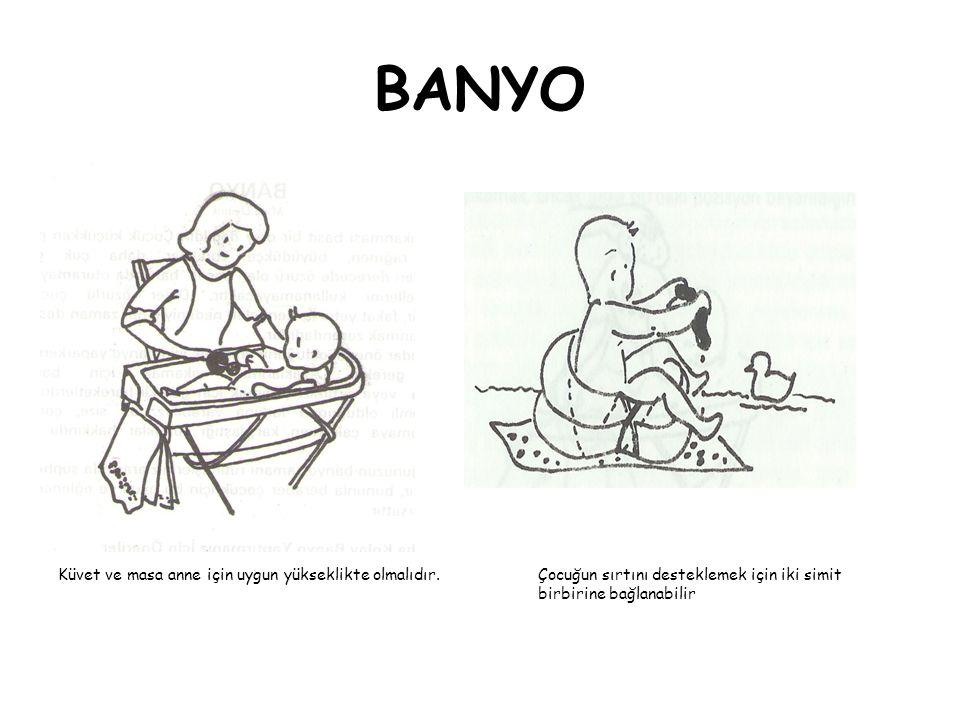BANYO Küvet ve masa anne için uygun yükseklikte olmalıdır.Çocuğun sırtını desteklemek için iki simit birbirine bağlanabilir