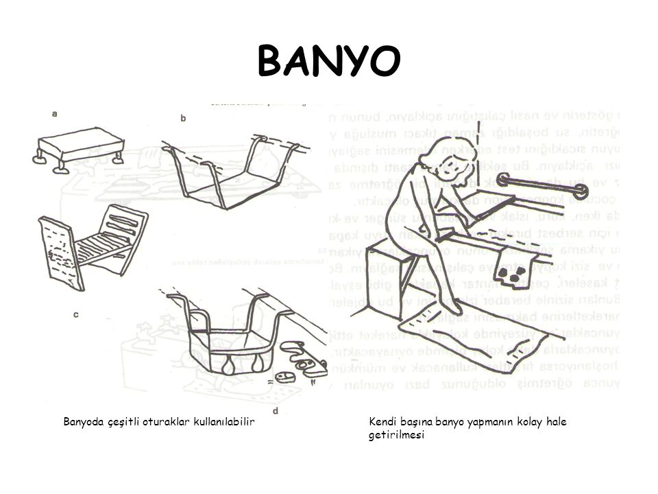 Banyoda çeşitli oturaklar kullanılabilirKendi başına banyo yapmanın kolay hale getirilmesi
