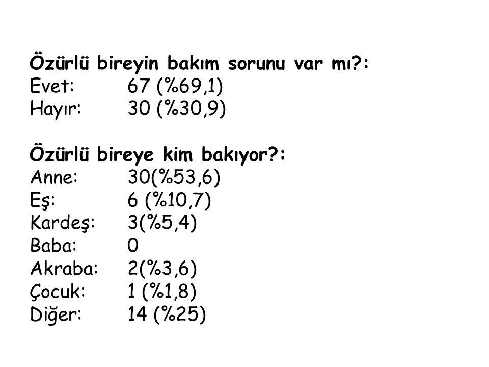 Özürlü bireyin bakım sorunu var mı?: Evet:67 (%69,1) Hayır: 30 (%30,9) Özürlü bireye kim bakıyor?: Anne: 30(%53,6) Eş: 6 (%10,7) Kardeş: 3(%5,4) Baba: 0 Akraba: 2(%3,6) Çocuk: 1 (%1,8) Diğer: 14 (%25)