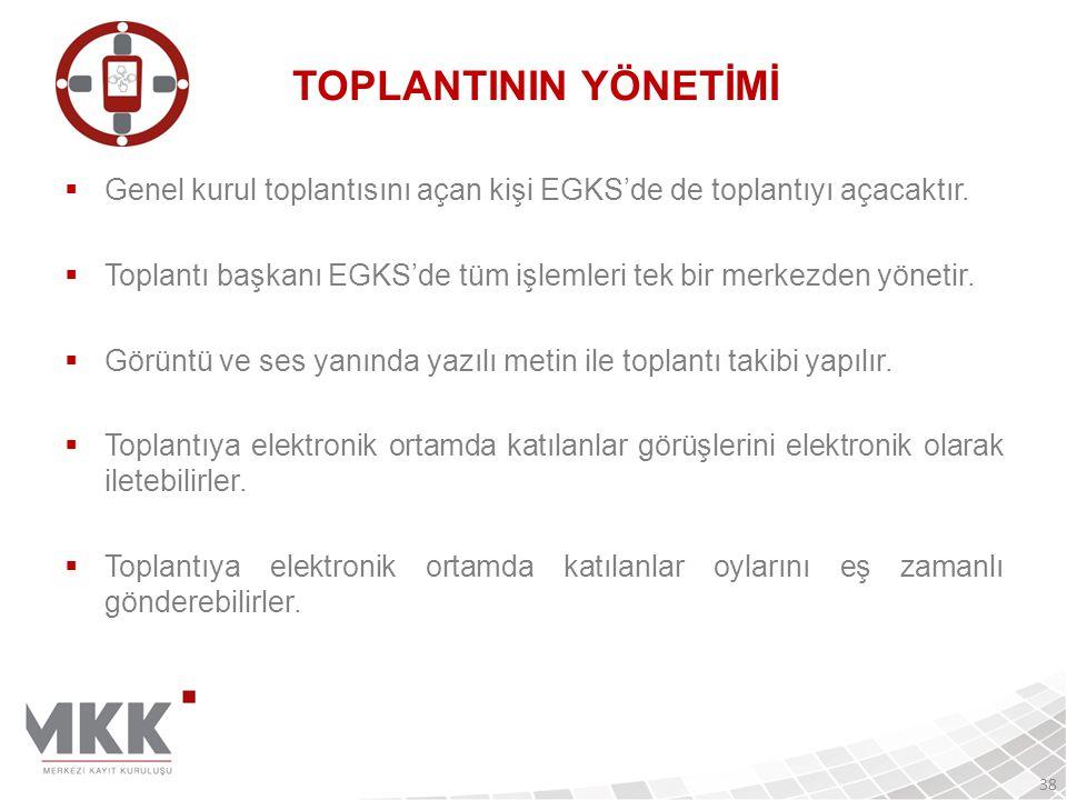  Genel kurul toplantısını açan kişi EGKS'de de toplantıyı açacaktır.  Toplantı başkanı EGKS'de tüm işlemleri tek bir merkezden yönetir.  Görüntü ve