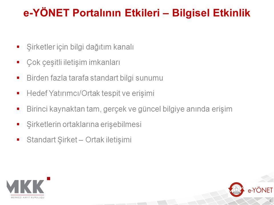 e-ŞİRKET: Şirketler Bilgi Portalı  Türk Ticaret Kanunu'nun 1524'üncü maddesi:  Tüm şirketlerin web sitesi kurması  Maddede belirtilen bilgi ve belgeleri web siteleri üzerinden yayımlama zorunluluğu  MKK e-ŞİRKET Portalında:  Şirketlerin web siteleriyle entegrasyon  1 milyon adet şirket ve tüzel kişiyle ilgili güncel şirket bilgileri ve dokümanların toplanması  Tüm şirketlerle ilgili veri ve bilginin tek bir merkezden verilmesi  Şirket & finansal bilgilerin ve dokümanların XBRL formatında yayınlanması  Gerekli güvenlik seviyelerinin sağlanması  Tek bir kaynaktan etkin erişimin ve değişmezliğin sağlanması  MERSİS altyapısına veri aktarımı 25