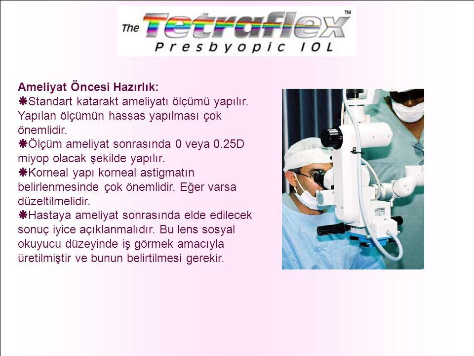 Ameliyat Öncesi Hazırlık:  Standart katarakt ameliyatı ölçümü yapılır. Yapılan ölçümün hassas yapılması çok önemlidir.  Ölçüm ameliyat sonrasında 0