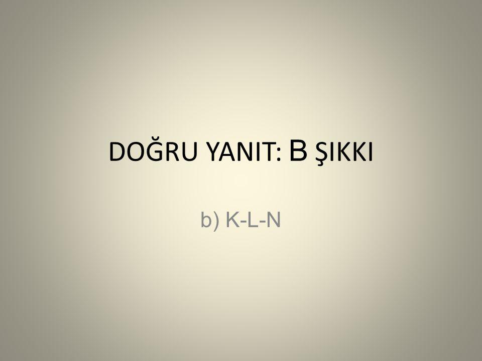 DOĞRU YANIT: B ŞIKKI b) K-L-N