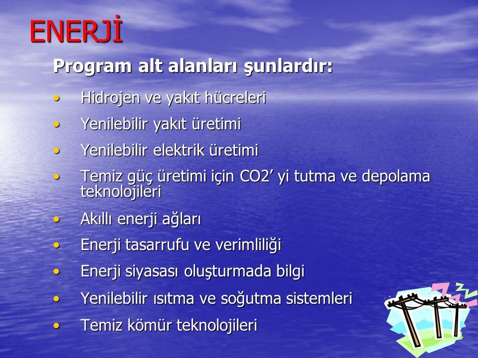ENERJİ Program alt alanları şunlardır: •Hidrojen ve yakıt hücreleri •Yenilebilir yakıt üretimi •Yenilebilir elektrik üretimi •Temiz güç üretimi için CO2' yi tutma ve depolama teknolojileri •Akıllı enerji ağları •Enerji tasarrufu ve verimliliği •Enerji siyasası oluşturmada bilgi •Yenilebilir ısıtma ve soğutma sistemleri •Temiz kömür teknolojileri