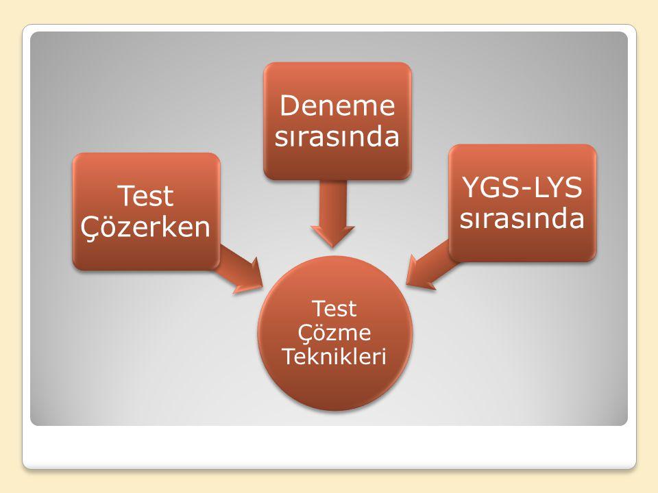 Test Çözme Teknikleri Test Çözerken Deneme sırasında YGS-LYS sırasında