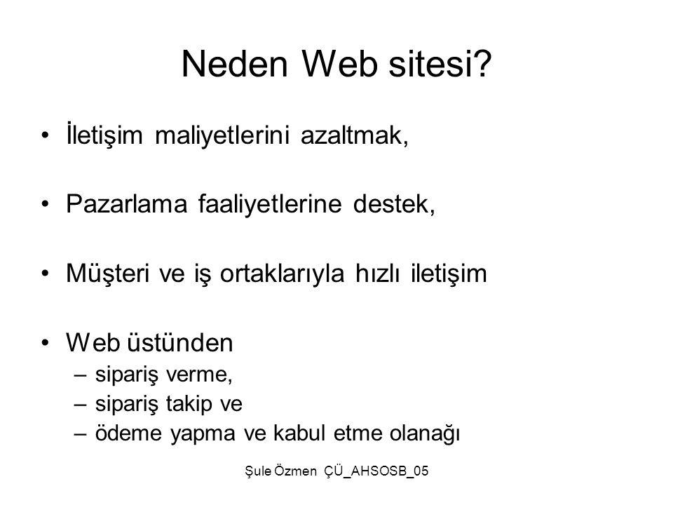Şule Özmen ÇÜ_AHSOSB_05 Neden Web sitesi? •İletişim maliyetlerini azaltmak, •Pazarlama faaliyetlerine destek, •Müşteri ve iş ortaklarıyla hızlı iletiş