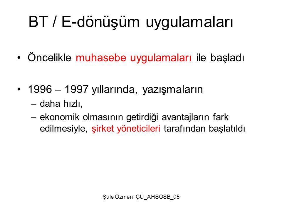 Şule Özmen ÇÜ_AHSOSB_05 •Öncelikle muhasebe uygulamaları ile başladı •1996 – 1997 yıllarında, yazışmaların –daha hızlı, –ekonomik olmasının getirdiği