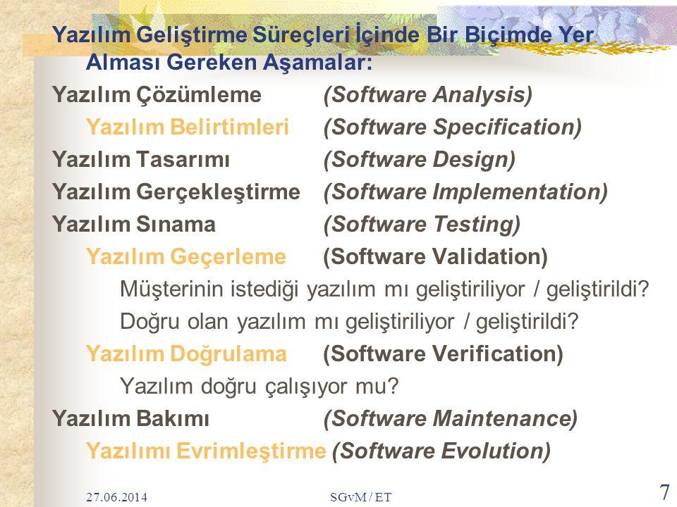 27.06.2014SGvM / ET 8 Kabaca konuşulduğunda Yazılım Mühendisliğinde Öngörülen Yazılım Geliştirme Aşamaları: Planlama Çözümleme Tasarım Gerçekleştirim Sınama Bakım