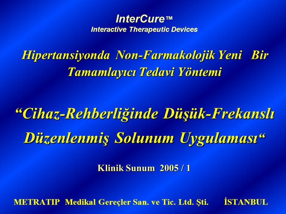 Hipertansiyonda Non-Farmakolojik Yeni Bir Tamamlayıcı Tedavi Yöntemi Cihaz-RehberliğindeDüşük-Frekanslı Düzenlenmiş Solunum Uygulaması Klinik Sunum 2005 / 1 InterCure ™ Interactive Therapeutic Devices Hipertansiyonda Non-Farmakolojik Yeni Bir Tamamlayıcı Tedavi Yöntemi Cihaz-Rehberliğinde Düşük-Frekanslı Düzenlenmiş Solunum Uygulaması Klinik Sunum 2005 / 1 METRATIP Medikal Gereçler San.