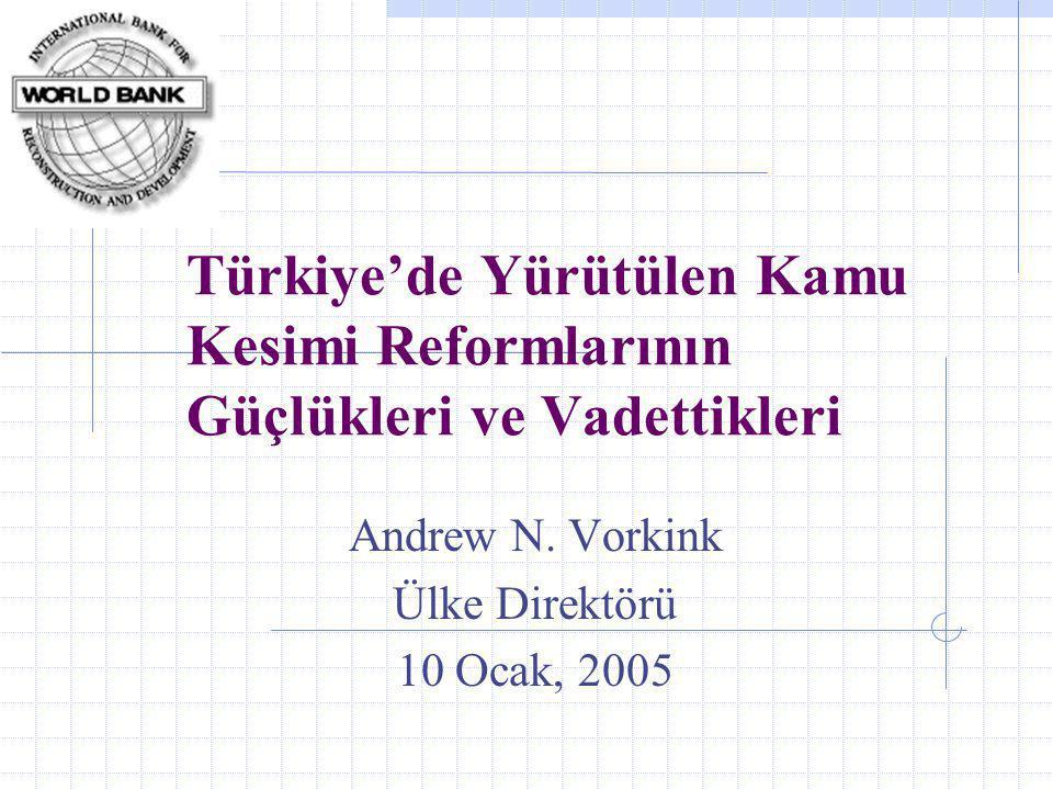 Türkiye'de Yürütülen Kamu Kesimi Reformlarının Güçlükleri ve Vadettikleri Andrew N.