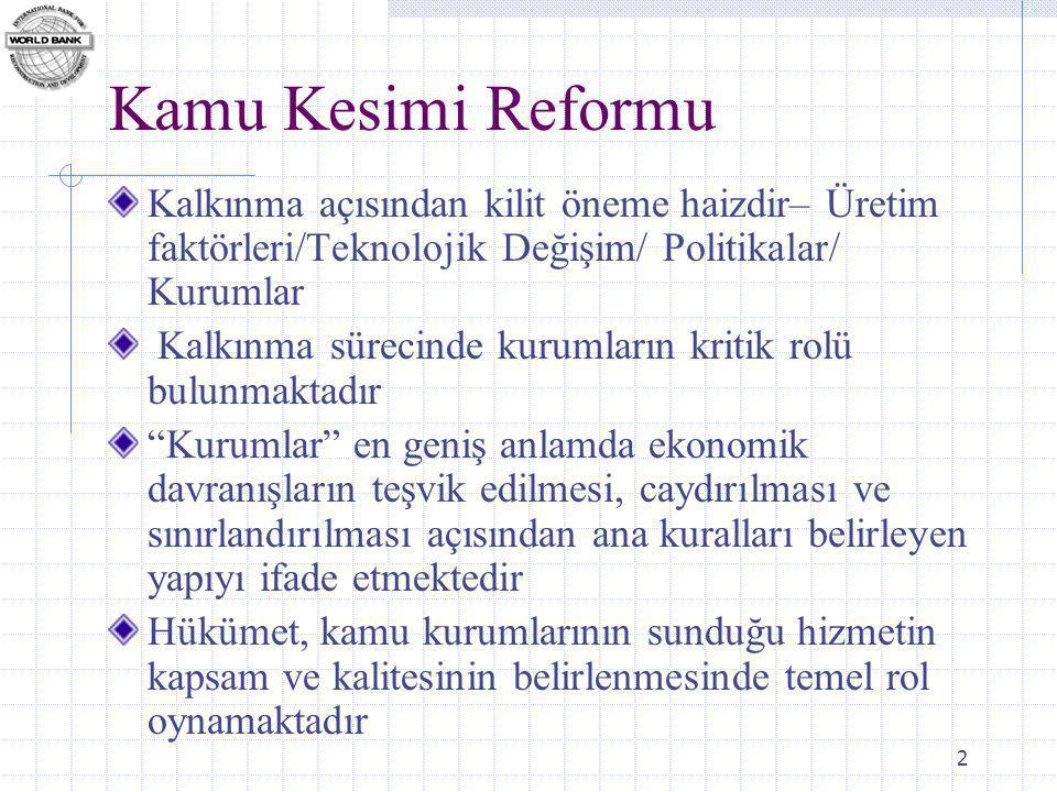 2 Kamu Kesimi Reformu Kalkınma açısından kilit öneme haizdir– Üretim faktörleri/Teknolojik Değişim/ Politikalar/ Kurumlar Kalkınma sürecinde kurumların kritik rolü bulunmaktadır Kurumlar en geniş anlamda ekonomik davranışların teşvik edilmesi, caydırılması ve sınırlandırılması açısından ana kuralları belirleyen yapıyı ifade etmektedir Hükümet, kamu kurumlarının sunduğu hizmetin kapsam ve kalitesinin belirlenmesinde temel rol oynamaktadır