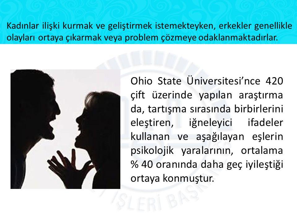 Ohio State Üniversitesi'nce 420 çift üzerinde yapılan araştırma da, tartışma sırasında birbirlerini eleştiren, iğneleyici ifadeler kullanan ve aşağıla