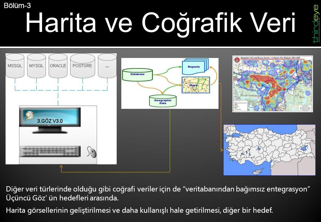 Harita ve Coğrafik Veri Bölüm-3 Diğer veri türlerinde olduğu gibi coğrafi veriler için de veritabanından bağımsız entegrasyon Üçüncü Göz' ün hedefleri arasında.