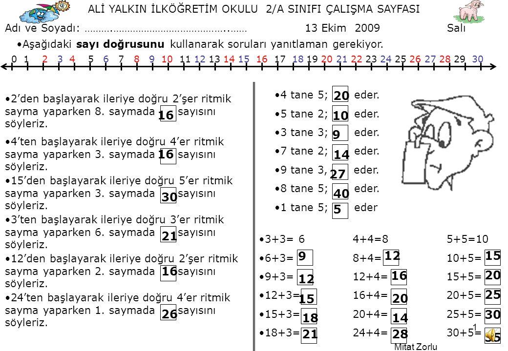 Mitat Zorlu 1 ALİ YALKIN İLKÖĞRETİM OKULU 2/A SINIFI ÇALIŞMA SAYFASI Adı ve Soyadı: ……….…………………………………..…… 13 Ekim 2009 Salı 0 1 2 3 4 5 6 7 8 9 10 11 12 13 14 15 16 17 18 19 20 21 22 23 24 25 26 27 28 29 30 •Aşağıdaki sayı doğrusunu kullanarak soruları yanıtlaman gerekiyor.