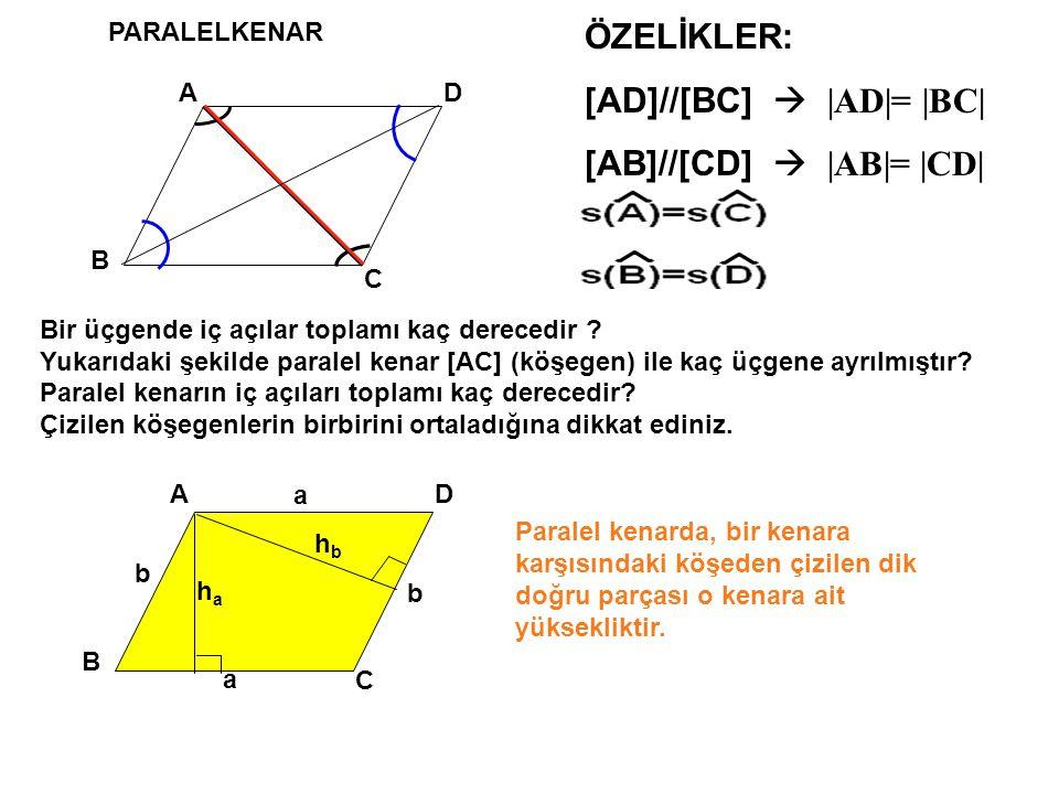 PARALELKENAR A B D C ÖZELİKLER: [AD]//[BC]  | AD|= |BC| [AB]//[CD]  | AB|= |CD| A B D C haha a a b b Paralel kenarda, bir kenara karşısındaki köşeden çizilen dik doğru parçası o kenara ait yüksekliktir.