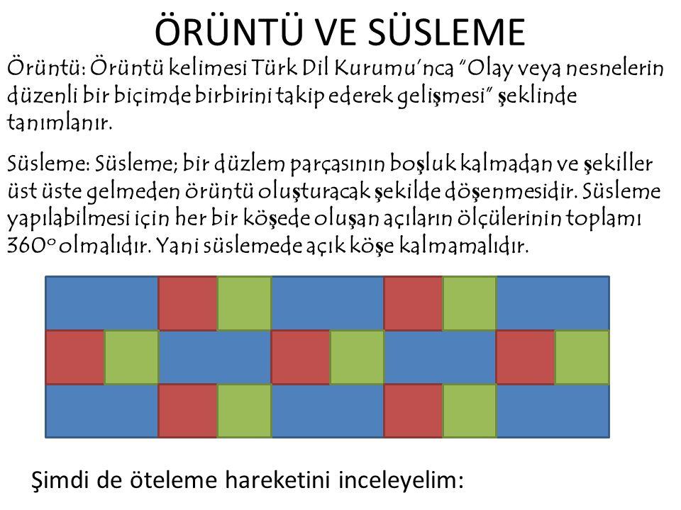 ÖRÜNTÜ VE SÜSLEME Örüntü: Örüntü kelimesi Türk Dil Kurumu'nca Olay veya nesnelerin düzenli bir biçimde birbirini takip ederek geli ş mesi ş eklinde tanımlanır.