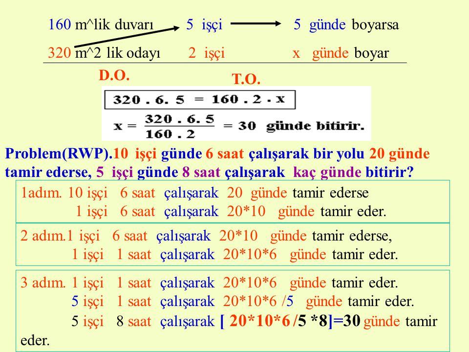 3. BİLEŞİK ORANTI Eğer bir oran, başka oranlara bağlı olarak orantı oluşturuyorsa bu çeşit orantılara BİLEŞİK ORANTI denir. Problem(RWP). 160 m^2 lik
