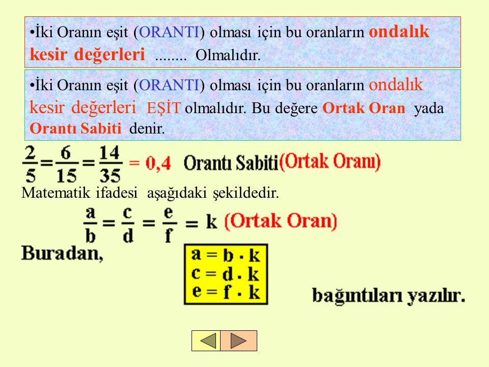 •İki Oranın eşit (ORANTI) olması için bu oranların ondalık kesir değerleri........