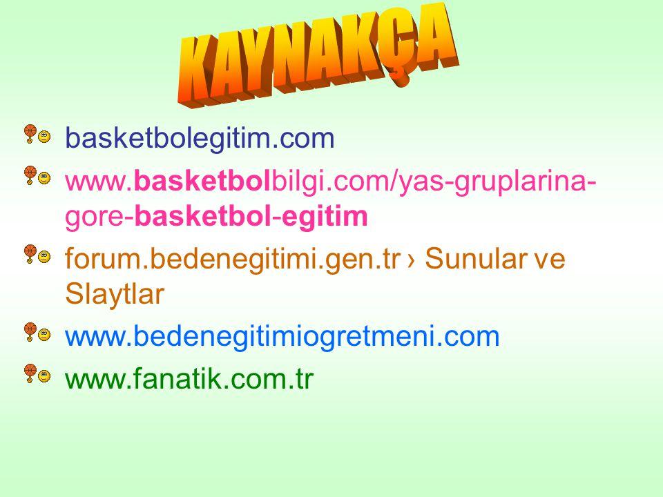 •basketbolegitim.com •www.basketbolbilgi.com/yas-gruplarina- gore-basketbol-egitim •forum.bedenegitimi.gen.tr › Sunular ve Slaytlar •www.bedenegitimio