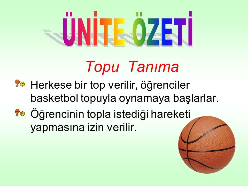 Topu Tanıma •Herkese bir top verilir, öğrenciler basketbol topuyla oynamaya başlarlar. •Öğrencinin topla istediği hareketi yapmasına izin verilir.